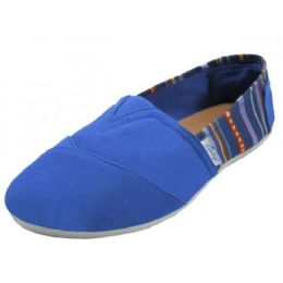 36 Units of Ladies Tom Like Canvas Flat -With Indian Print Navy Color Only - Women's Sneakers