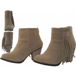 12 Units of Women's Suede 2 1/2 Inches Heel and Side Fringe Ankle High Boots - Women's Boots