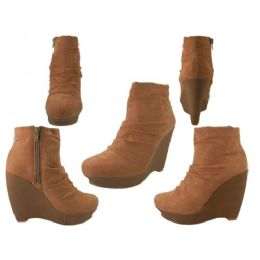 12 Units of Women Micro Suede Side Zipper Boot With 4 1/2 ' Wedge - Women's Boots