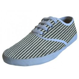 24 Units of Women's Striped Printed Casual Canvas Shoe - Women's Flats