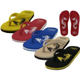 36 Units of Men's Dragon Embossed Thong Sandals - Men's Flip Flops and Sandals