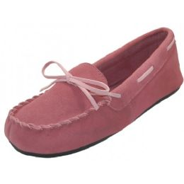 24 Units of Wholesale Women's Pink Leather Moccasins - Women's Slippers
