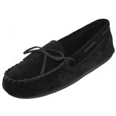 24 Units of Wholesale Women's Black Leather Moccasins - Women's Slippers
