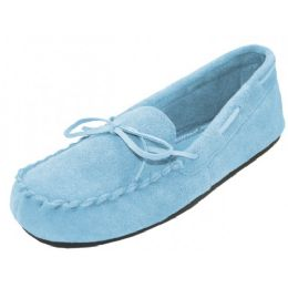 24 Units of Wholesale Women's Light Blue Leather Moccasins - Women's Slippers