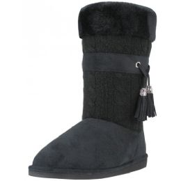 18 Units of Wholesale 11 Inches Shaft Women's Micro Fiber Knitts Faux Fur Lining Boots - Women's Boots