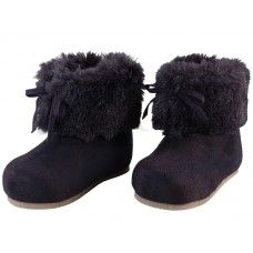 24 Units of Wholesale Baby's Faux Fur Cuff Winter Boots - Girls Boots