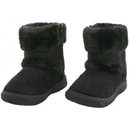 24 Units of Baby's Zippered Winter Boots Black Color - Girls Boots