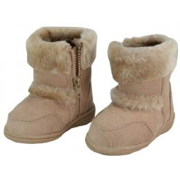 24 Units of Wholesale Kids's Winter Boots With Faux Fur Lining And Side ZippeR- Beige - Girls Boots