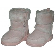 24 Units of Wholesale Kids's Winter Boots With Faux Fur Lining and Side Zipper- Pink - Girls Boots
