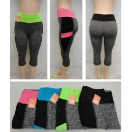 24 Units of Ladies Active Fitness Capris [solid Color Waist] - Womens Active Wear