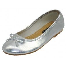 18 Units of Toddler's Ballerina Flat Shoe Silver Color Only - Toddler Footwear