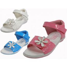 24 Units of Toddlers Velcro Top and Side With Flower Top Sandals - Toddler Footwear
