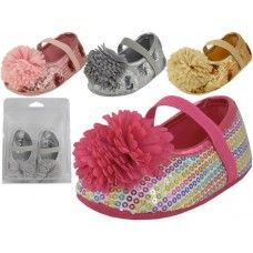 48 Units of Baby Sequin Shoes W/bow - Baby Accessories