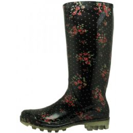 12 Units of Women's Ditsy Floral Printed Rain Boots - Women's Boots