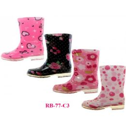24 Units of Wholesale Children's Printed Rain Boots - Toddler Footwear