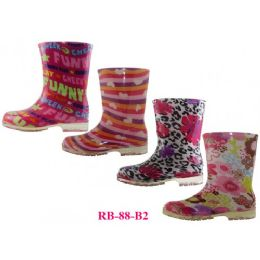 24 Units of Wholesale Children's Printed Rain Boots - Girls Boots