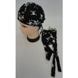 96 Units of Wholesale Skull Caps Motorcycle Hats Fabric Skull Cross Bones - Bandanas