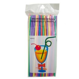 80 Units of 100 Piece Assorted Color Flexible Straws - Straws and Stirrers