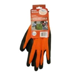 120 Units of Bright Orange Poly W Black Latex Glove L - Working Gloves