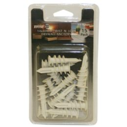 144 Units of 15pc 14x40mm Twist Lock Drywall Anchors - Tool Sets