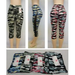 24 Units of Ladies Active Fitness Capris [camo With Mesh Sides] - Womens Active Wear
