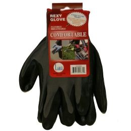 120 Units of GREY POLY W BLACKNITRILE COAT GLOVES L - Working Gloves