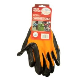 120 Units of ORANGE POLY W BLACKNITRILE COAT GLOVE L - Working Gloves
