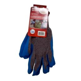 120 Units of GREY KNITT WITH BLUE RUBBER PALM LARGE - Knitted Stretch Gloves
