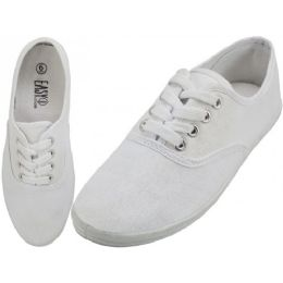 24 Units of Women's Lace Up Casual Canvas Shoes ( *White Color ) *Open Stock - Women's Sneakers