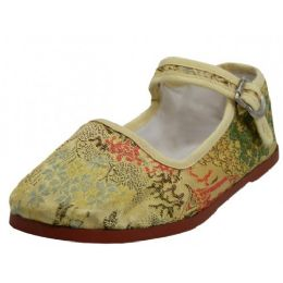 36 Units of Toddlers' Brocade Mary Janes ( Gold Color Only) - Toddler Footwear