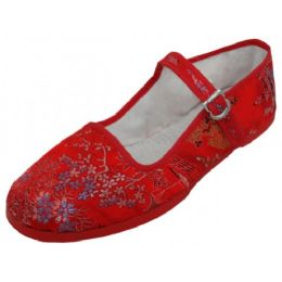 36 Units of Women's Brocade Mary Jane SHOES ( Red Color Only)