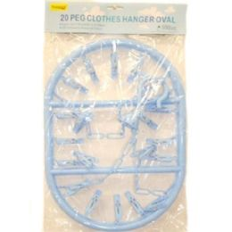 96 Units of CLOTHES HANGER OVAL W24PC CLIPS 40X28C - Clothes Pins