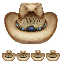 36 Units of Kids Brown Straw Cowboy Hat With Beaded Band - Cowboy & Boonie Hat