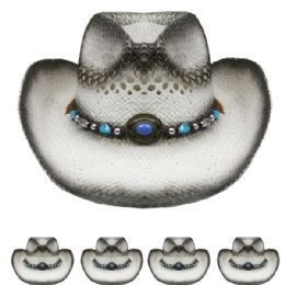24 Units of Kids Grey Straw Cowboy Hat With Beaded Band - Cowboy & Boonie Hat