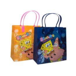 288 Units of Medium Sponge Bob Plastic Gift Bag - Bags Of All Types