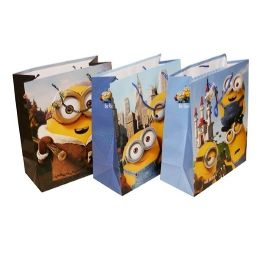 144 Units of Minions Paper Gift Bag Large - Bags Of All Types