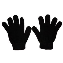 144 Units of Womens Black Magic Gloves, Stretchy And Warm With Ribbed Cuff - Knitted Stretch Gloves