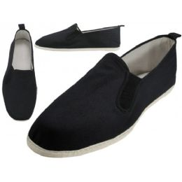 36 Units of Men's Slip On Twin Gore Cotton Upper & White Cotton Out Sole Kung Fu/Tai Chi Shoes - Men's Slippers