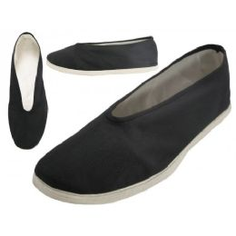 36 Units of Men's Slip On V-Top Cotton Upper & White Cotton Out Sole Kung Fu/Tai Chi Shoes - Men's Slippers