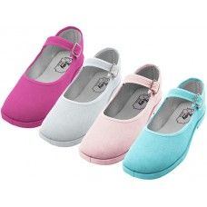 36 Units of Girl's Cotton Mary Jane Shoes Assorted Colors - Girls Shoes