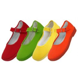 36 Units of Girls' Cotton Mary Jane Shoes Assorted Neon Color Only - Girls Shoes