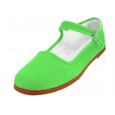 36 Units of Women's Classic Cotton Mary Jane Shoes ( Green Color Only) - Women's Flats