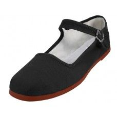 36 Units of Women's Canvas Classic Mary Janes (black Color Only) - Women's Flats