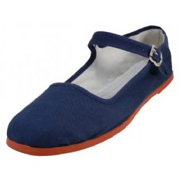 36 Units of Women's Canvas Classic Mary Janes (navy Color Only) - Women's Flats