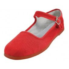 36 Units of Women's Canvas Classic Mary Janes (red Color Only) - Women's Flats