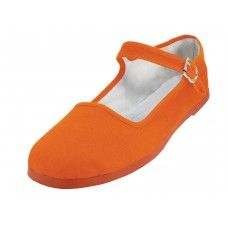 36 Units of Women's Canvas Classic Mary Janes Shoe Orange Color Only - Women's Flats