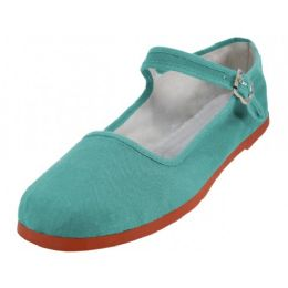 36 Units of Women's Canvas Classic Mary Janes (lagoon Color Only) - Women's Flats