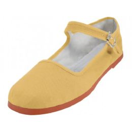 36 Units of Women's Canvas Classic Mary Janes (pale Yellow Color Only) - Women's Flats