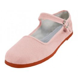 36 Units of Women's Canvas Classic Mary Janes (light Pink Color Only) - Women's Flats