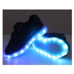 18 Units of Led Shoes Kids Mix Size ( 18 Pairs ) Black Only - Unisex Footwear